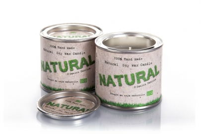 Natural soy wax candles in tins