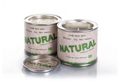 Bougies en cire de soja en boite Naturel